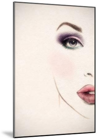 Beautiful Woman Face. Watercolor Illustration-Anna Ismagilova-Mounted Art Print