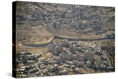 Aeriel View of the Wall Dividing Israel from the West Bank to Prevent Terror Attacks-Hal Beral-Stretched Canvas Print