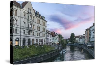 Ljubljana River Sunset-Rob Tilley-Stretched Canvas Print