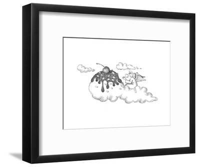 Angel eating ice cream. - Cartoon-John O'brien-Framed Premium Giclee Print