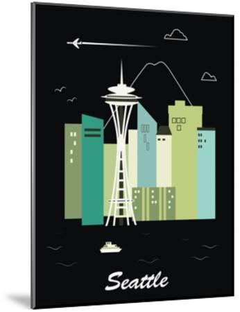 Seattle Washington.Vector-Ladoga-Mounted Art Print