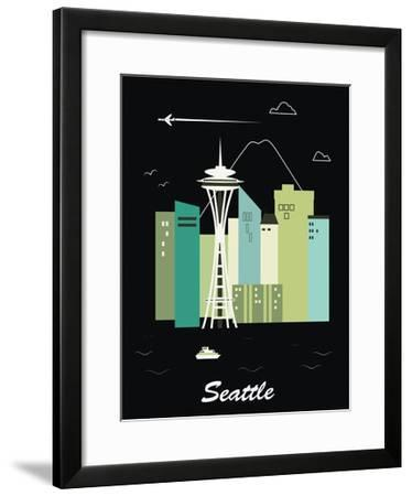 Seattle Washington.Vector-Ladoga-Framed Art Print