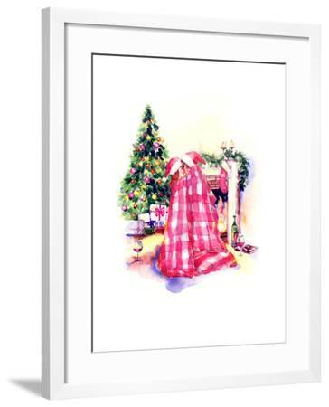 Kissing Couple Man and Woman .New Year Background-Anna Ismagilova-Framed Art Print