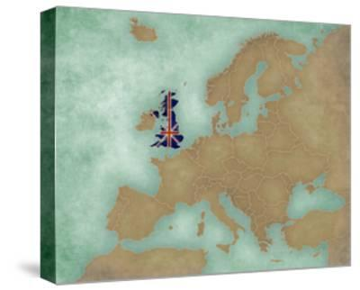 Map of Europe - United Kingdom (Dark)-Tindo-Stretched Canvas Print