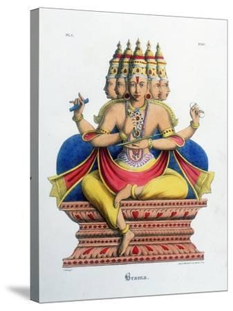 Brahma, First God of the Hindu Trinity (Trimurt), and Creator of the Universe, C19th Century-A Geringer-Stretched Canvas Print