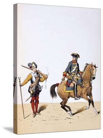 French Royal Troops, C1750-A Lemercier-Stretched Canvas Print