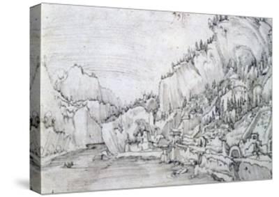 Sarmingstein on the Danube, 16th Century-Albrecht Altdorfer-Stretched Canvas Print