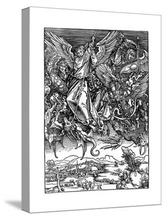 St Michael Battling with the Dragon, 1498-Albrecht Durer-Stretched Canvas Print