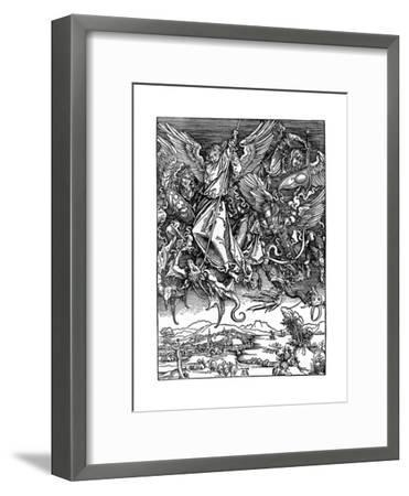 St Michael Battling with the Dragon, 1498-Albrecht Durer-Framed Giclee Print