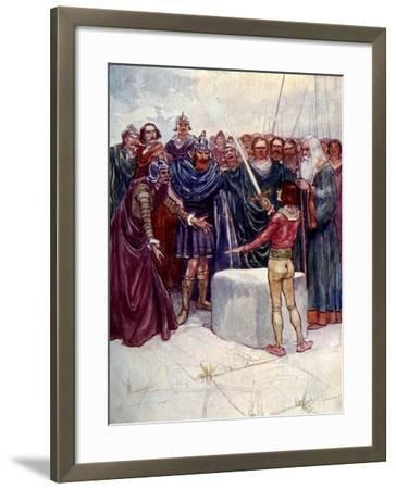 He Stood There Holding the Magic Sword in His Hand-AS Forrest-Framed Giclee Print