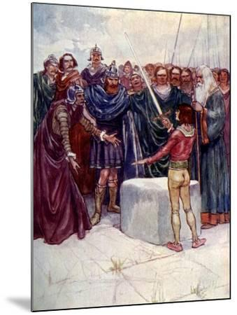 He Stood There Holding the Magic Sword in His Hand-AS Forrest-Mounted Giclee Print