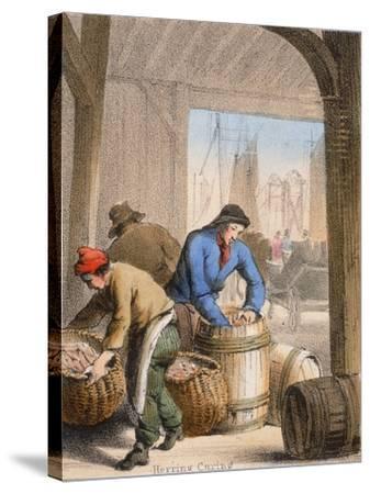 Herring Curing, C1845-Benjamin Waterhouse Hawkins-Stretched Canvas Print