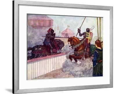 The Count Rode Again and Again at Edward Till His Lance Was Splintered in His Hand, C1270-AS Forrest-Framed Giclee Print
