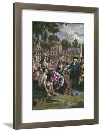 William Penn, English Quaker Colonist, Treating with Native North Americans, 1682 (1771-177)-Benjamin West-Framed Giclee Print