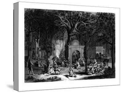 Hindu Fakirs Practicing their Superstitious Rites, 19th Century-Bell-Stretched Canvas Print