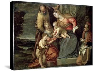 The Holy Family with Saints Catherine, Anne and John the Baptist, C1580-C1582-Benedetto Caliari-Stretched Canvas Print