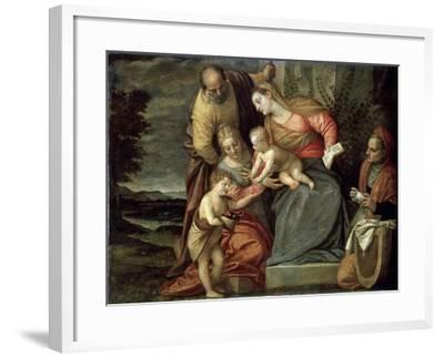 The Holy Family with Saints Catherine, Anne and John the Baptist, C1580-C1582-Benedetto Caliari-Framed Giclee Print