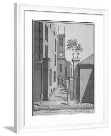 West Prospect of the Church of St Olave Jewry from Ironmonger Lane, City of London, 1750-Benjamin Cole-Framed Giclee Print