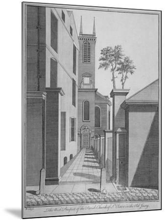 West Prospect of the Church of St Olave Jewry from Ironmonger Lane, City of London, 1750-Benjamin Cole-Mounted Giclee Print