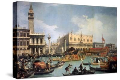 Buccentoro's Return to the Pier at the Doges' Palace, 1730S-Canaletto-Stretched Canvas Print