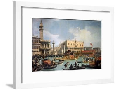Buccentoro's Return to the Pier at the Doges' Palace, 1730S-Canaletto-Framed Giclee Print
