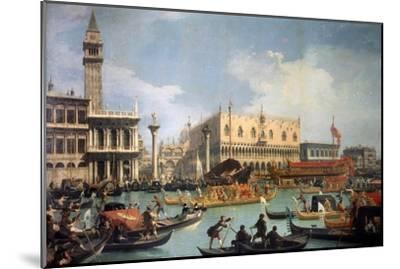 Buccentoro's Return to the Pier at the Doges' Palace, 1730S-Canaletto-Mounted Giclee Print