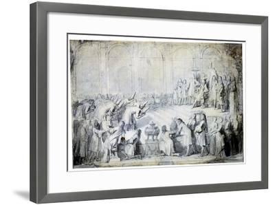 The Siamese Ambassadors before the King, 1686-Charles Le Brun-Framed Giclee Print