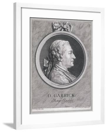 Oval Portrait of the Actor David Garrick Wearing a Short Wig, with Surround, C1780-Charles Nicolas Cochin-Framed Giclee Print