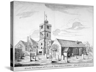 Old St Leonard's Church, Shoreditch, London, 1735-Bernard Lens-Stretched Canvas Print