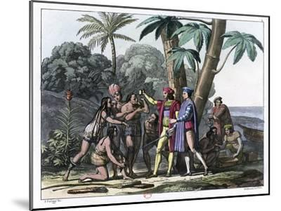 Christopher Columbus Arriving in the New World, 1492 (1817-182)- Bonatti-Mounted Giclee Print