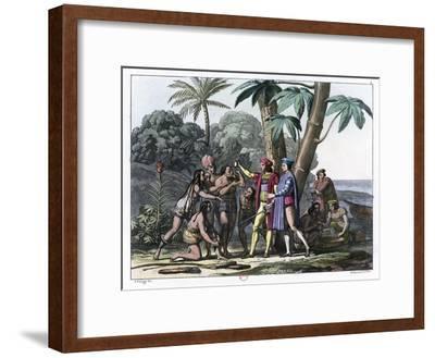 Christopher Columbus Arriving in the New World, 1492 (1817-182)- Bonatti-Framed Giclee Print