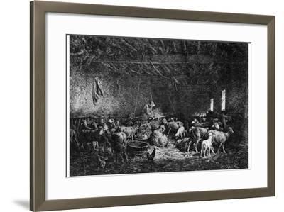 La Bergerie, (The Shepher), 1825-1890-Charles Emile Jacque-Framed Giclee Print
