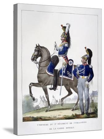 Uniform of the 1st Regiment of Chasseurs of the Royal Guard, France, 1823-Charles Etienne Pierre Motte-Stretched Canvas Print