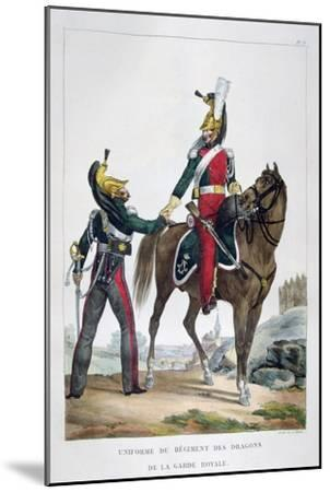 Uniform of a Regiment of Dragoons of the Royal Guard, France, 1823-Charles Etienne Pierre Motte-Mounted Giclee Print