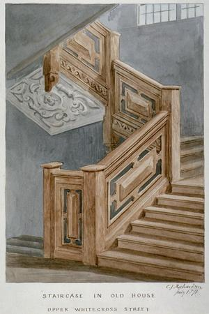 Staircase in a House on Whitecross Street, London, 1871-Charles James Richardson-Framed Giclee Print