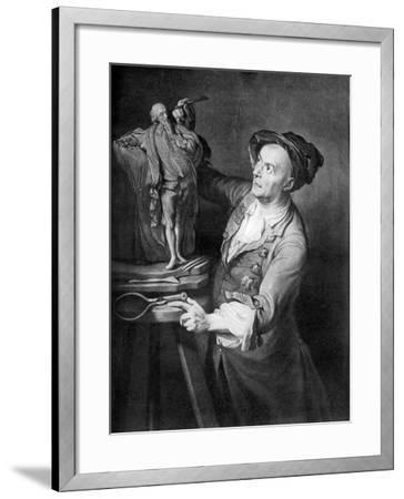Louis Francois Roubiliac Making a Sculpture of Shakespeare, C1765, (1920)-David Martin-Framed Giclee Print