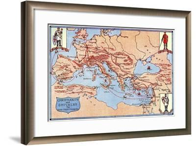Map of the Routes of the Three Great Crusades, 1926- Criss-Framed Giclee Print