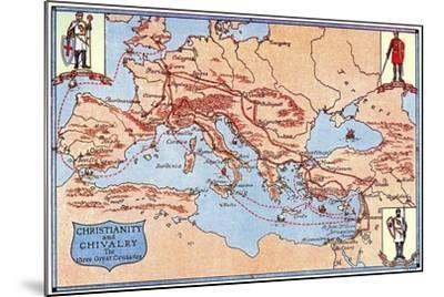 Map of the Routes of the Three Great Crusades, 1926- Criss-Mounted Giclee Print