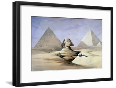 The Great Sphinx and Pyramids at Giza, 1838-1839-David Roberts-Framed Giclee Print