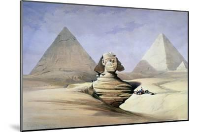 The Great Sphinx and Pyramids at Giza, 1838-1839-David Roberts-Mounted Giclee Print