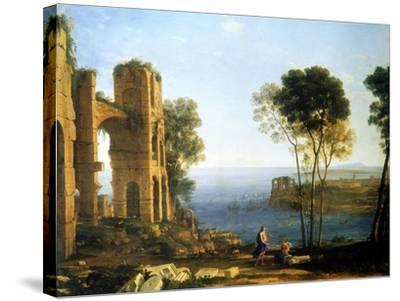 Coast View with Apollo and the Cumaean Sibyl, Between 1645 and 1649-Claude Lorraine-Stretched Canvas Print