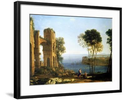 Coast View with Apollo and the Cumaean Sibyl, Between 1645 and 1649-Claude Lorraine-Framed Giclee Print