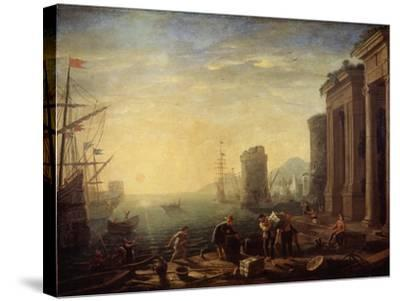 Morning in the Harbour, 1630S-Claude Lorraine-Stretched Canvas Print