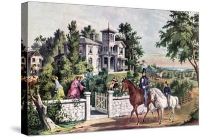 American Country Life, May Morning, 1855-Currier & Ives-Stretched Canvas Print