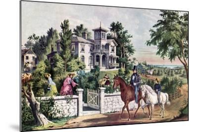 American Country Life, May Morning, 1855-Currier & Ives-Mounted Giclee Print