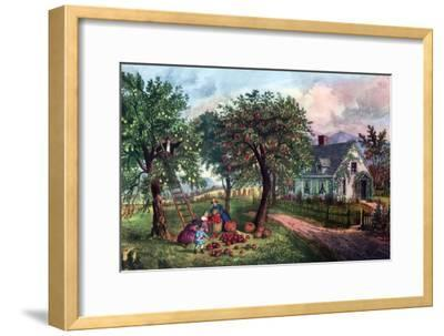 American Homestead in Autumn, 1869-Currier & Ives-Framed Giclee Print