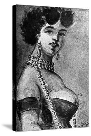 Woman, 19th Century-Constantin Guys-Stretched Canvas Print