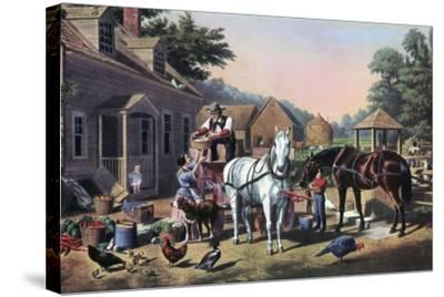 Preparing for Market, 1856-Currier & Ives-Stretched Canvas Print