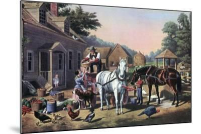 Preparing for Market, 1856-Currier & Ives-Mounted Giclee Print