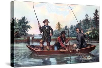 Catching a Trout, 1854-Currier & Ives-Stretched Canvas Print